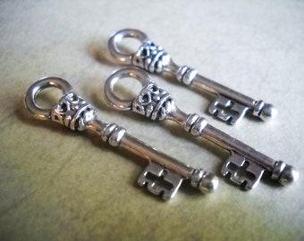 Silver Key Charms Key Pendants Skeleton Keys Steampunk Keys Steampunk Supplies Silver Key Pendants Antiqued Silver Charms 12pcs