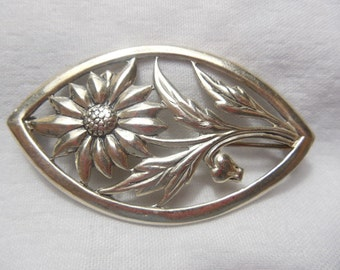 Vintage Sterling Brooch Sterling Flower Brooch