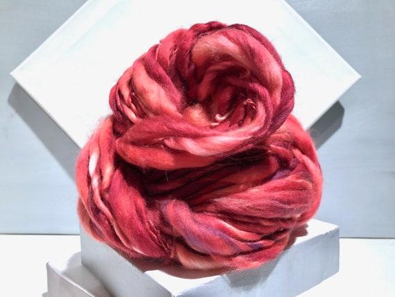 """Thick Thin Art Yarn, bulky handspun yarn """"Raspberry Sun"""" Pink, Red, Salmon, Purple,Orange, Crochet, Knitting, weaving yarn, bulky yarn"""
