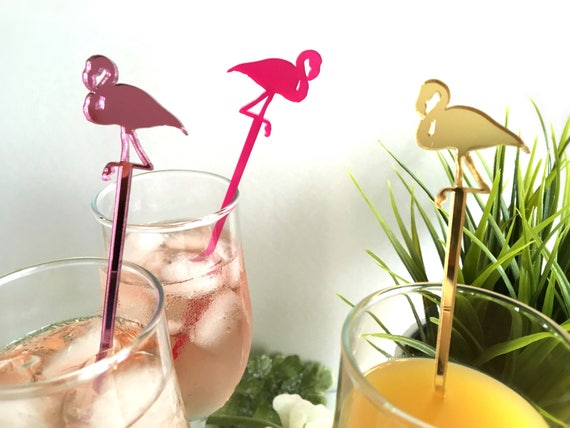 Pink Flamingo Tropical beach weddings Drink stirrers Flamingo Party Picks Summer Party Bar decor Bird stand Wedding decoration Hawaii party