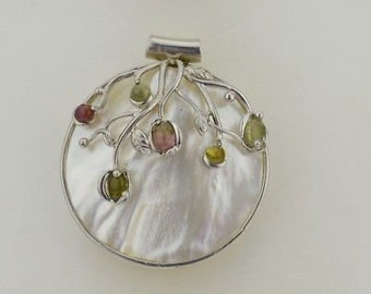 Sterling Silver 925 Estate Mother Of Pearl Fancy Pendant