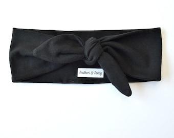 Black Top Knot Headband Adult, Women's Hair Accessories, Knotted Jersey Headband, Retro Headband