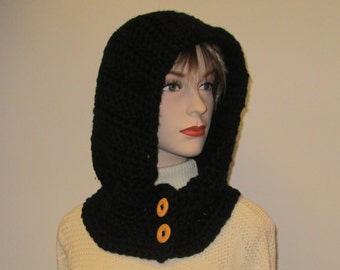 Black Hooded Scarf, Hoodie Scarf, Gift for Her, Fashion Scarves, Winter Chunky Scarf, Black Hat