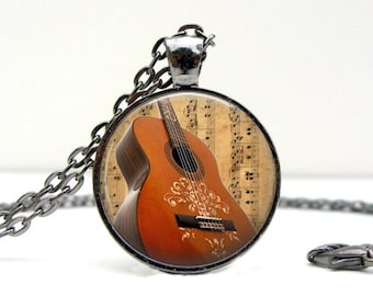 Guitar Necklace : Acoustic Guitar. Music. Pendant. Charms. Picture Pendant. Guitar. Gunmetal. Handmade Jewelry. Jewellery (1707)