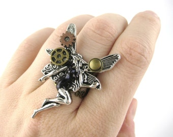 Steampunk Ring - Fairy Jewelry - Steampunk Jewlery - Steampunk Fantasy - Fairy Accessories - Fairy Cosplay - Steampunk Cosplay Gift For Her