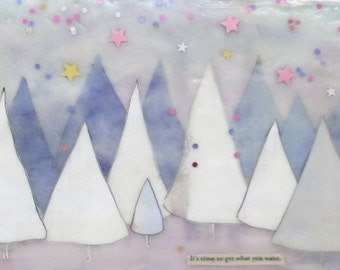 Pine Tree Illustration, encaustic collage art, periwinkle trees, nursery room art, magical forest