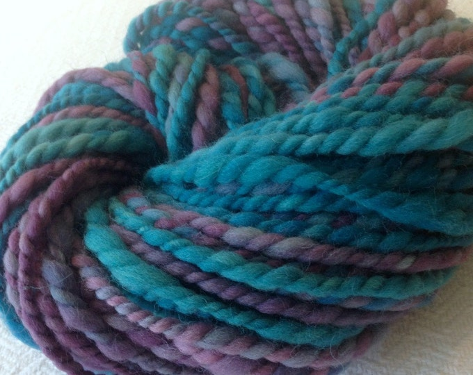 If Pirates Went to Prom Handspun yarn Soft Wool Yarn Bulky Weight plum purple turquoise teal Two Ply 2 Ply 56 yards