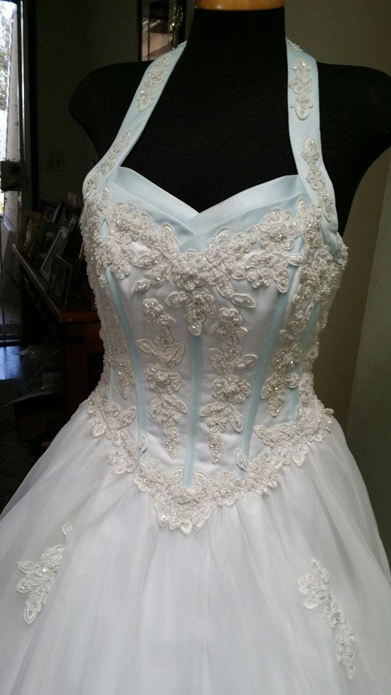 Jahrgang blau Brautkleid Neckholder Kleid Hochzeit der 90er