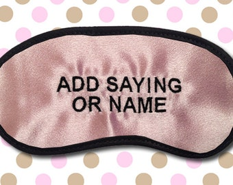 Custom Made Personalized Pink Embroidered Eye Mask - SALE  - favorite on pinterest tumblr instagram polyvore