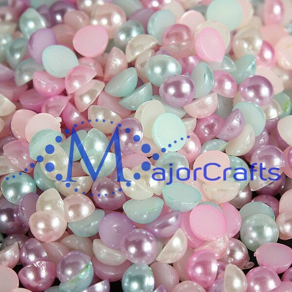 Pastel Mixed Colours Flat Back Half Round Resin Pearls Craft Embellishment Gems