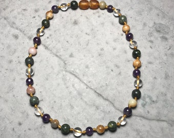 """11.5"""" All The Feels // little kid big emotions // empathic // healing // cleansing // hand knotted gemstone childrens necklace //"""