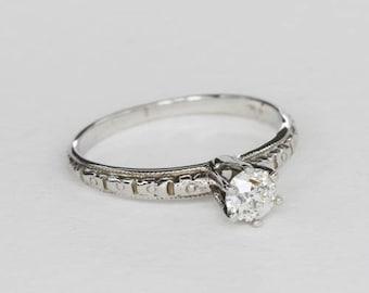 Vintage Edwardian Diamond Engagement Ring, 0.30 Ct