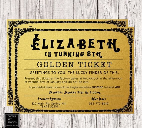 Willy wonka golden ticket birthday invitation golden ticket filmwisefo