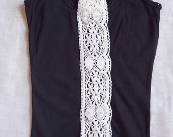 Black Embellished Lace handmade tank top