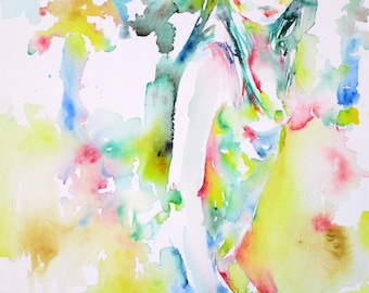 GAZING AT - original watercolor painting - one of a kind!