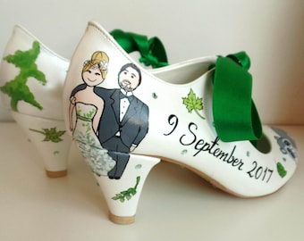 Wedding Shoes, Customized Bridal Shoes with Low Heels, Green Forest Wedding