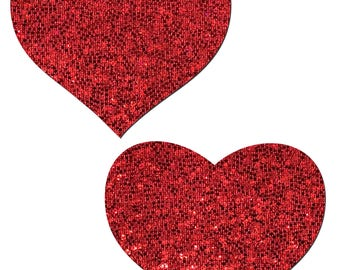 Pasties - Red Glitter Heart Nipple Pasties by Pastease® o/s