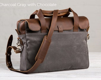 The Medium Briefcase -  Charcoal Gray with Chocolate | Leather Laptop Briefcase