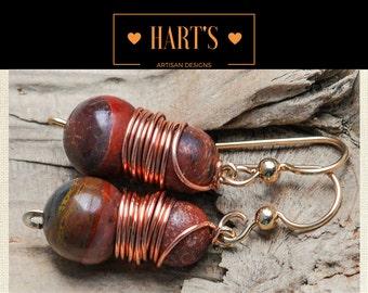 Jasper Wire Wrapped 14K Gold Earrings