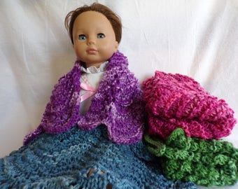 Made-to-Order Wavy Variegated Knitted Doll Blankets, Pink Doll Blanket, Purple Doll Blanket, Green Doll Blanket, Blue Doll Blanket