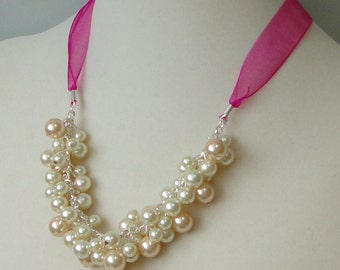 ON SALE David's Bridal BEGONIA Pink Pearl Cluster BRIDEsmaid Gift WEDDing Maid Of Honor Bridal Necklace By DYEnamite