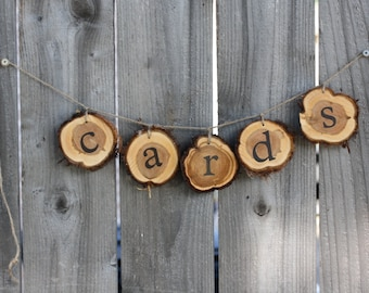 Rustic Cards Sign, Hanging Cards Sign, wood slices with jute, cards table, rustic cedar wood slices, cards sign, hanging cards sign, cards