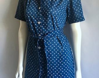 Vintage Women's 80's Floral, Dress, Navy Blue, White, Short Sleeve (M)