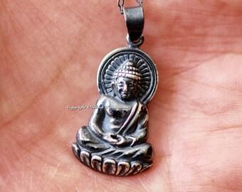 Shakyamuni Buddha Necklace - Large Oxidized Solid 925 Sterling Silver Gautama Buddha Auspicious Feng Shui - Insurance Included