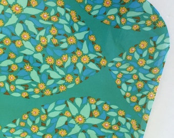 Green Floral Field Study - Laminated Cotton Oilcloth - Craft and Splat Mat
