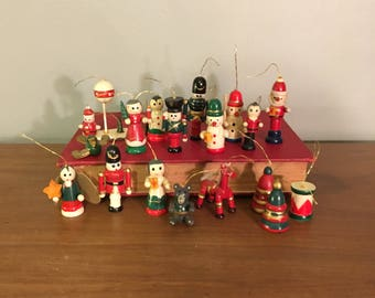 Lot of 18 Wood Christmas Ornaments