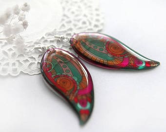 Paisley earrings for woman gift Big red earrings Stained glass earrings Boho feather earrings Grenadine jewelry Birthday gift for wife gift