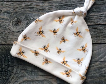 organic baby hat, bees baby hat, organic newborn hat, newborn hat, gender neutral baby clothes, organic baby clothes, eco friendly baby