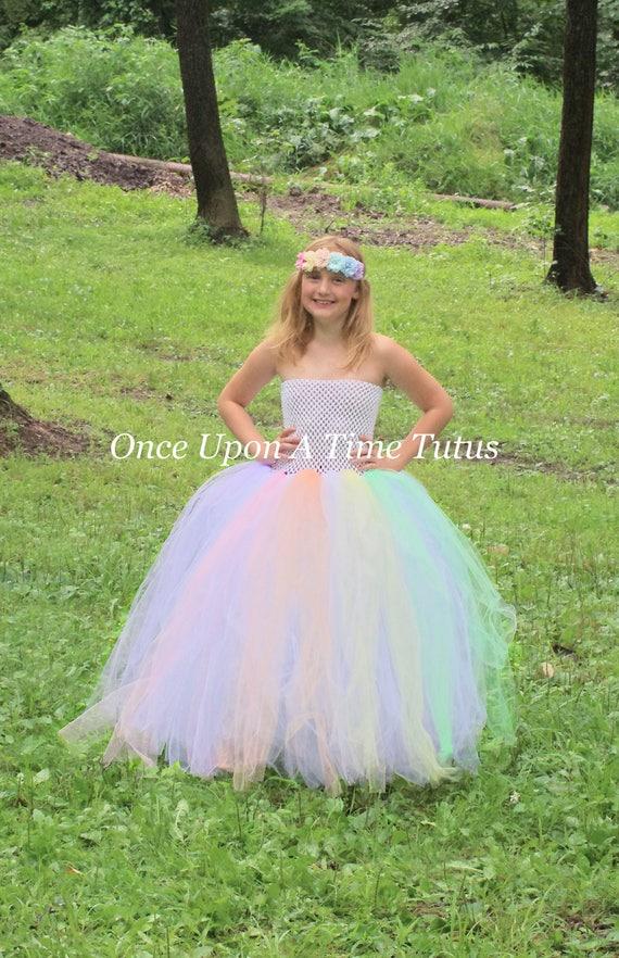 Pastel Rainbow Tutu Dress Unicorn Halloween Costume Girls