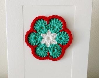 Crochet Flower Greeting Card - Blank Cards - Crochet Cards - Crochet Flowers - Crochet Wall Art - Greeting Cards