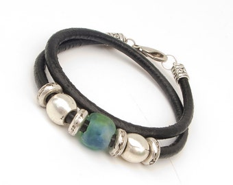 Women's leather bracelet, Exotic leather bracelet, African, Hungarian handicraft