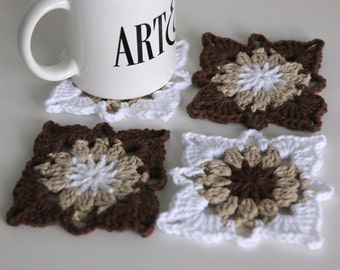 Crochet Coasters Set of 4 in Brown Tan and White for the Home