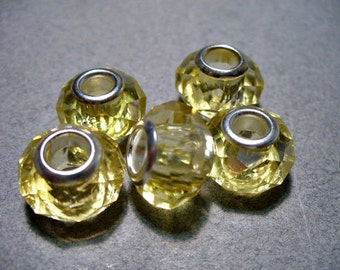 Glass Faceted Beads Yellow Big Hole Rondelle 13x10mm