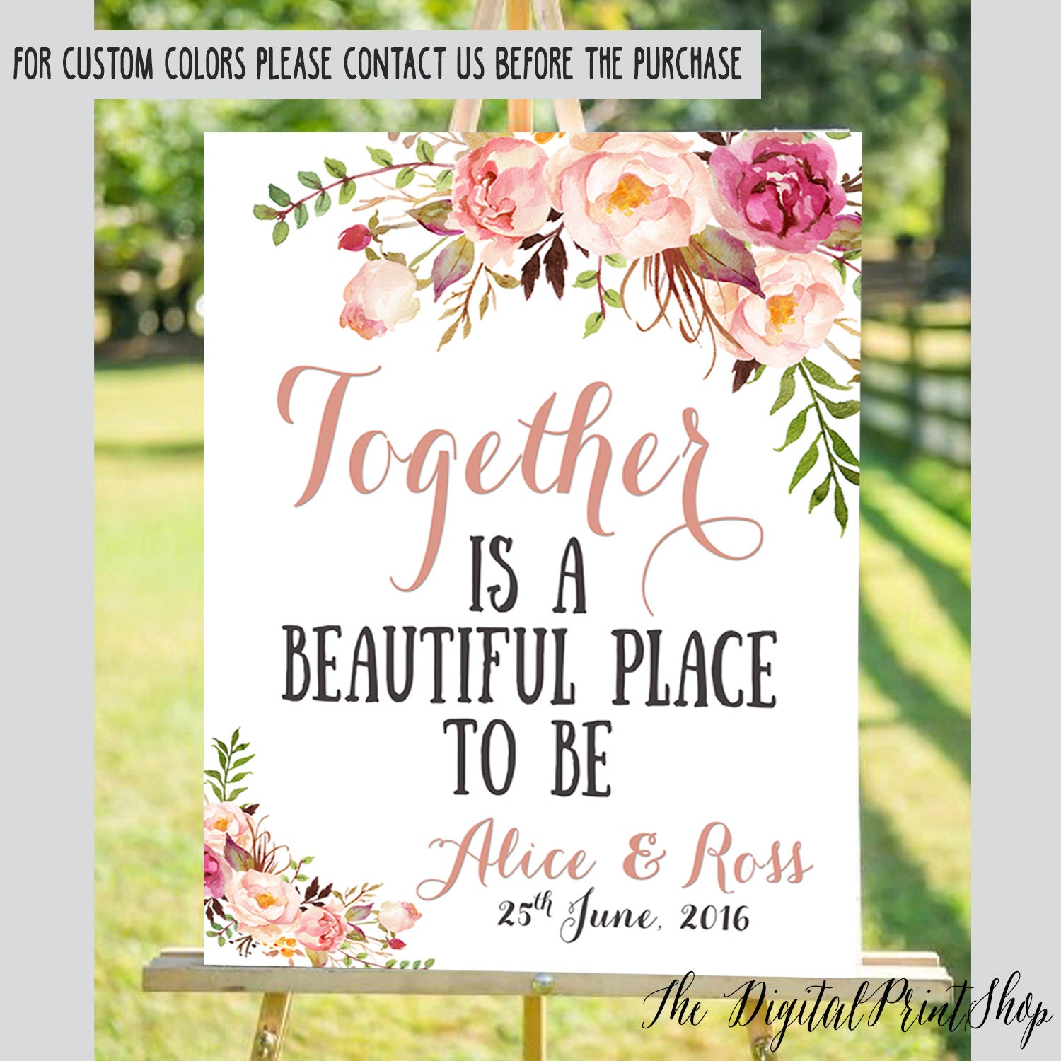 Wedding Welcome Sign Watercolor flowers Rustic Chic Outdoor