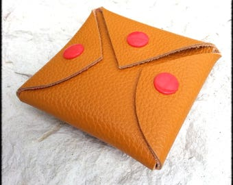 Your mustard leather wallet three red snap