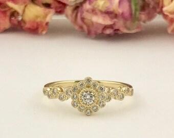 Yellow Gold Diamond Ring Flower Design Engagement Ring Women   Antique Vintage Style Wedding Ring. 14k Yellow Gold. petit Ring .