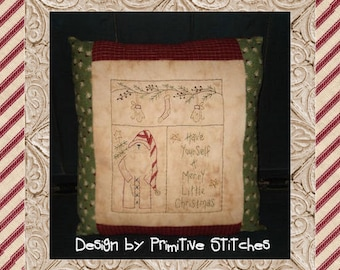 Merry Little Christmas Sampler-Primitive Stitchery  E-PATTERN by Primitive Stitches-Instant Download