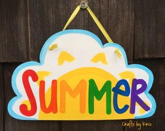 Summer painted wood sign, sun door hanger, sunshine, rainbow decoration, spring door hanger, cloud