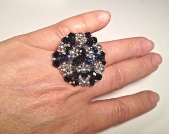 Women ring,  handmade black silver beaded Ring