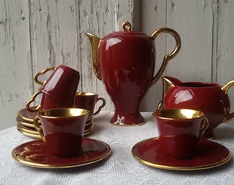 Coffee Mocha Magdalithe Burgundy and gold/vintage 50 s/french vintage