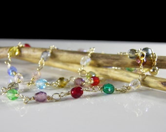 Ready To Ship - Multi-Color Swarovski Crystal & Gold Necklace, Great Mother's Day Gift, Grad Gift