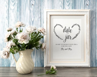 Date Jar Sign, Date Night Sign Template, Date Jar Ideas, Date Ideas Sign Printable, Date Night Jar, Date Sign, Wedding Sign, PDF Instant