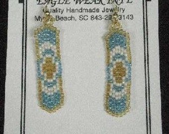 Seed Bead Earrings, Blue/White/Amber