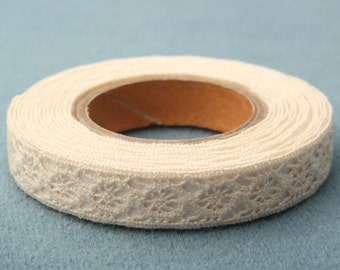 3 yd. x Adhesive Lace Ribbon / Tape / Beige
