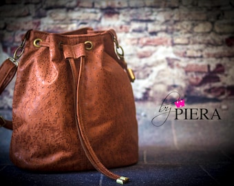leather bucket bag, brown leather bag, leather handbag, handmade leather bag, leather shoulder bag, leather purse, ladies handbag