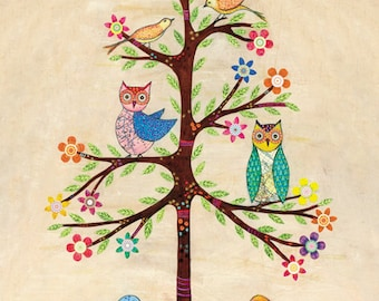 Owls and Birds Collage Painting, Mixed Media Art, Home Decor, Art Print on Wood